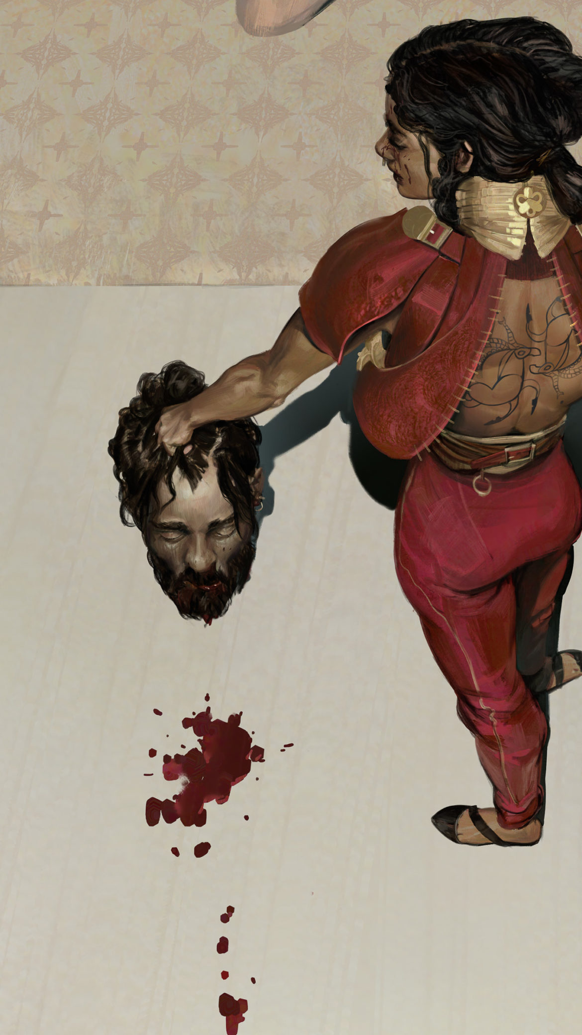 Judith holds Holofernes head